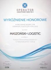 Wyróżnienie honorowe  Operator logistyczny  roku 2013