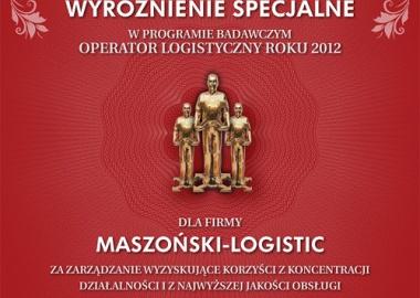 Maszoński-Logistic laureatem wyróżnienia specjalnego Operatora Logistycznego Roku 2012